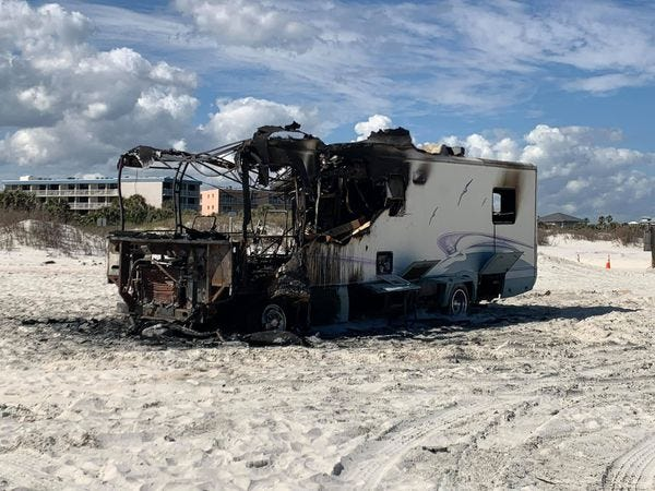 A recreational vehicle was burned down to its frame Saturday, Feb. 27, 2021, at St. Augustine Beach. No one was injured.