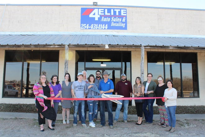 The Stephenville Chamber of Commerce welcomed new member 4 Elite Auto Sales & Detailing with a ribbon-cutting ceremony on Feb. 23. 4 Elite Auto Sales & Detailing is a local, family-owned auto sales shop that also offers interior and exterior cleaning and detailing services for cars, trucks, SUV's, horse trailers, boats, RV's, and more. Owner Rick Hanson says he wants to provide Stephenville and the surrounding area with the best car buying experience possible. For more details, visit bit.ly/RC-4Elite