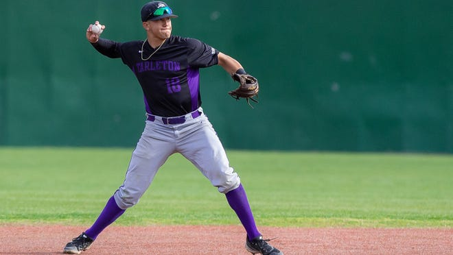 Tarleton infielder Corey Young had two hits on the day in the Texans' doubleheader loss to Northwestern State.