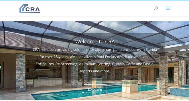 A screen capture of the website of Commercial Residential Aluminum.