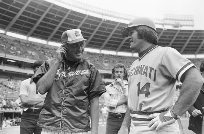 The Cincinnati Reds' Pete Rose, right, is interviewed by Atlanta Braves pitcher Phil Niekro for a television sportscast prior to a game in Atlanta on July 31, 1978. Savannah resident Robert Belloir, who played for the Braves from 1975-78, shares stories about his teammate Niekro as well as being a rookie and having a conversation with Rose at second base.