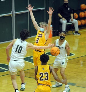 Lumberton senior Charlie Miller (5), who scored 18 points in the Pirates' 54-50 win at Pinecrest in the second round, is the team's leading scorer ahead of the NCHSAA 4-A East Regional final.