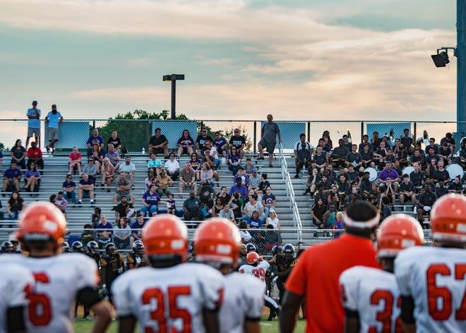 Fans enjoy the football game between Jack Britt and Southview on Friday, August 17, 2018, at Jack Britt High School.