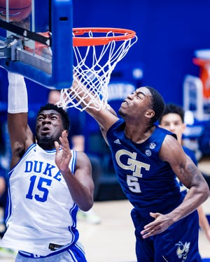 Duke and Georgia Tech players in action during Duke's 75-68 win in Durham on Jan. 26.
