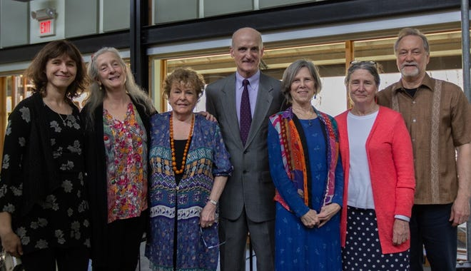Playwright Debra Kaufman (third from right) and members of Mebanesville, Playmakers Rep Company, and the Paul Green Foundation posed for this March 2019 photo. [Submitted photo]