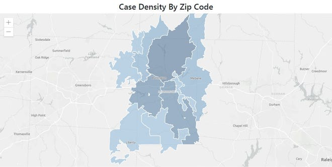 This map, provided by the Alamance County Health Department, shows which zip codes in Alamance have the highest case density of COVID-19 as of March 1.