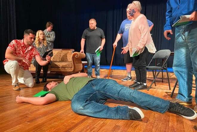 """Actors rehearse a dramatic murder scene from Agatha Christie's """"And Then There Were None"""" at Spanish Trail Playhouse in Chipley. The show opens March 5."""
