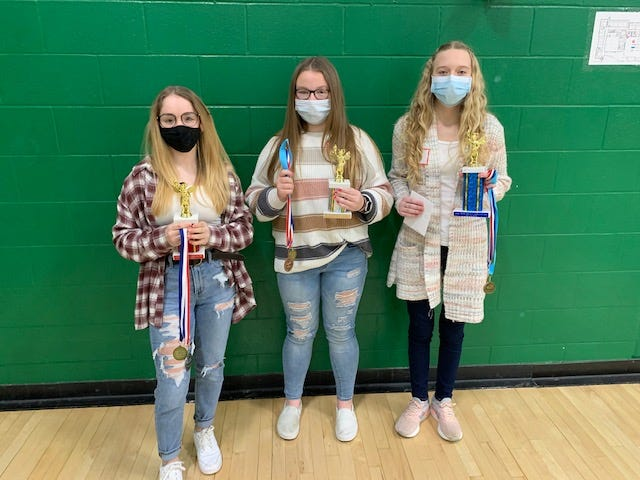 L-R: Leila Kiser (Southeastern), Hayley Bossert (Adena) and Clara Ewing (Adena) were awarded second, third and first place, respectively, for competing in the annual 2021 Ross County Spelling Bee.