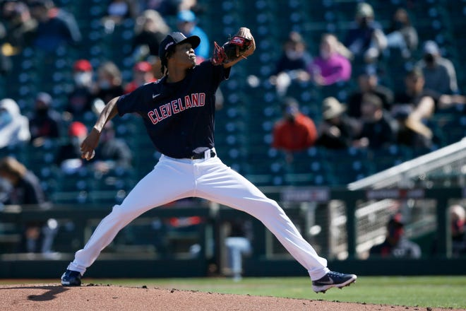 Cleveland pitcher Triston McKenzie will likely open the season in the starting rotation. How many innings he will be able to pitch remains in question. [USA TODAY Network]