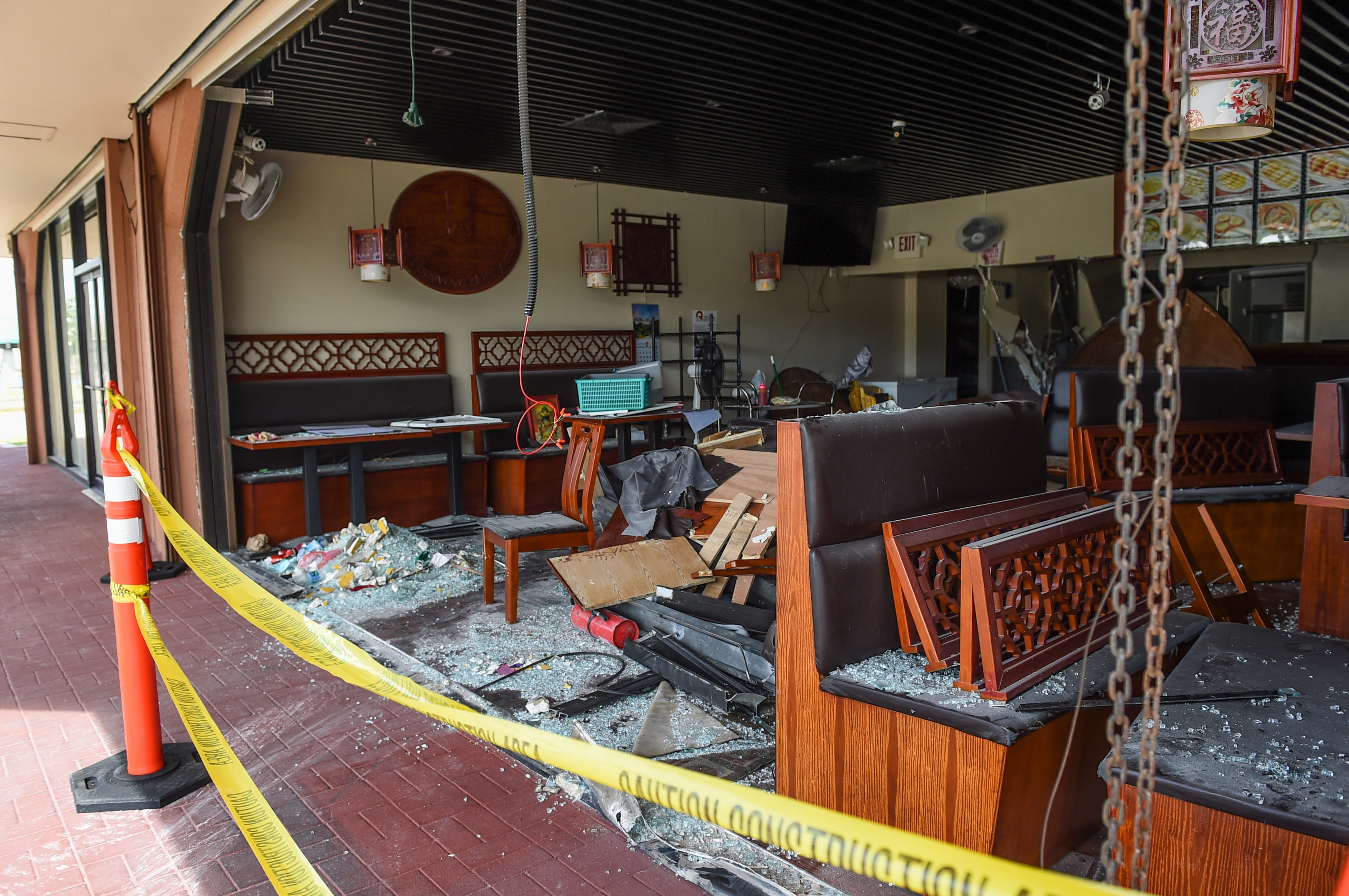 Heavy interior damage is shown at Jerry Kitchen in Tamuning in the aftermath of a Feb. 25 car crash in this March 1 file photo.