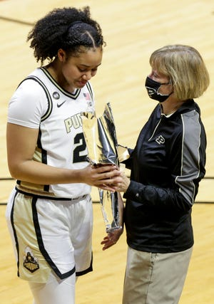 Purdue forward Jenelle Grant (22) and Purdue head coach Sharon Versyp during senior night celebrations, Sunday, Feb. 28, 2021 at Mackey Arena in West Lafayette.