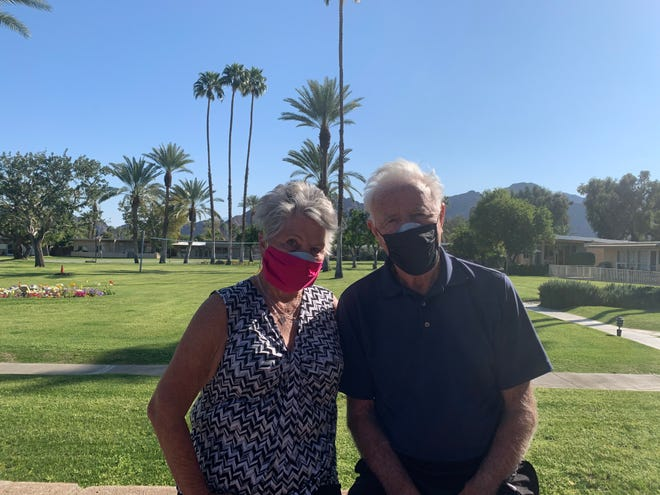 Indian Wells residents Jody and Kevin Harris have been patiently compliant with all COVID-19 recommendations but now, after vaccination, are eager to remove their masks.