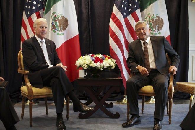 Andrés Manuel López Obrador meets with then-Vice President Joe Biden in 2012.