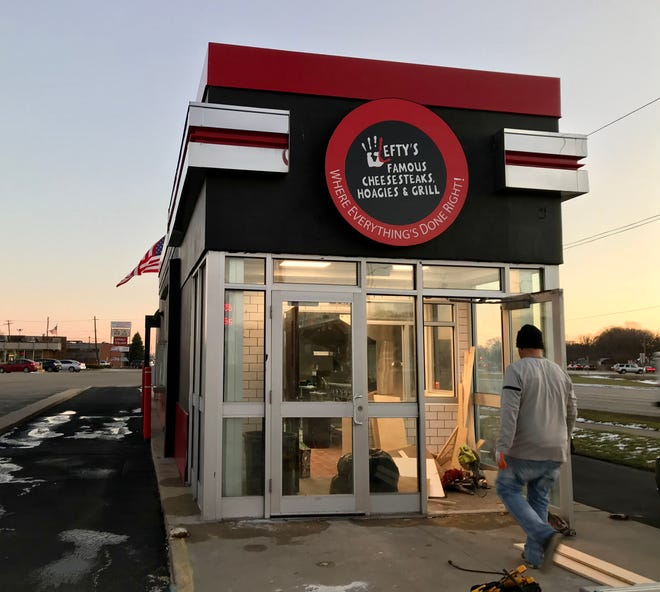 Work is done on the Lefty's Famous Cheesesteaks, Hoagies & Grill location at 2852 Pine Grove Ave. in Port Huron on Dec. 2, 2020.