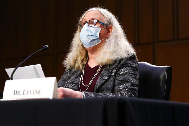 Rachel Levine, nominated to be an assistant secretary at the Department of Health and Human Services, testifies before the Senate Health, Education, Labor, and Pensions committee on Capitol Hill in Washington on Thursday, Feb. 25, 2021. (Tom Brenner/Pool via AP)