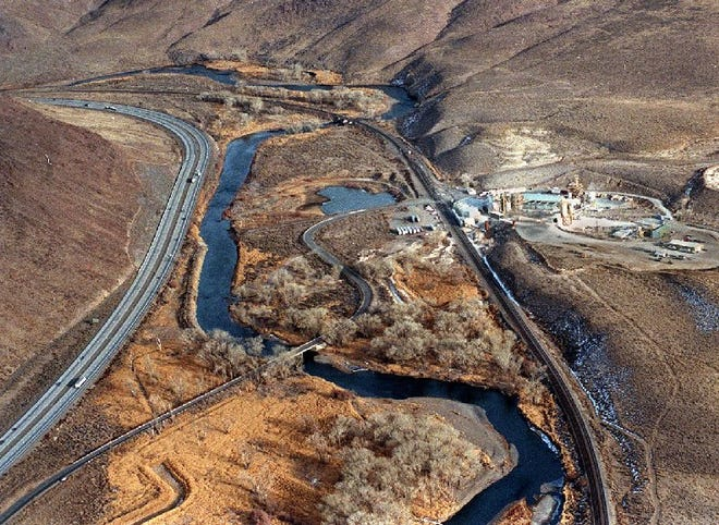 The Truckee River winds its way through the canyon near the gypsum plant east of Sparks.