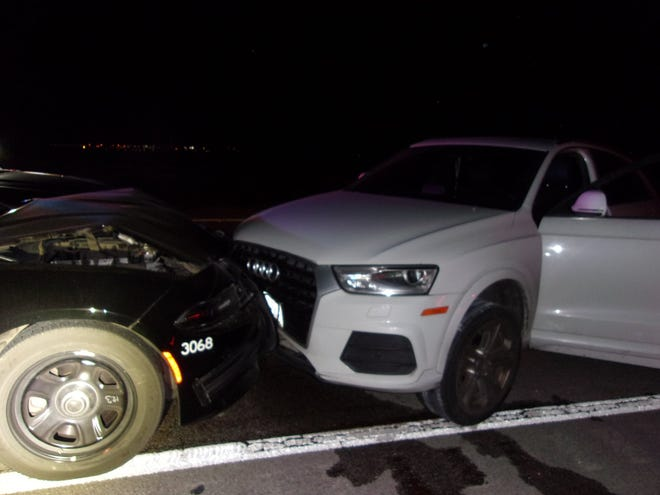 A crash following an early morning pursuit Monday, March 1, 2021, sent a deputy to the hospital with minor injuries.