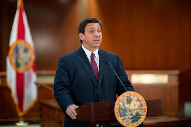 Gov. Ron DeSantis speaks during a press conference held with House Speaker Chris Sprowls and other lawmakers about taking on foreign interference at Florida's colleges and universities, with an emphasis on preventing China and other countries from stealing intellectual property at the Capitol Monday, March 1, 2021.