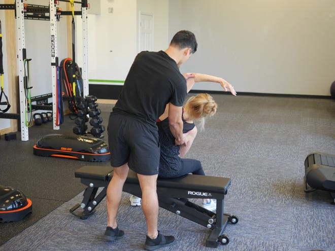 Working on mobility exercises at  Fit & Functional.  Mobility is the active ease of movement without restrictions performed in a controlled and efficient fashion.