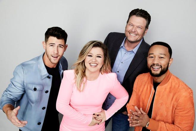 "Season 20 of ""The Voice"" premiered Monday with coaches (l-r) Nick Jonas, Kelly Clarkson, Blake Shelton and John Legend."