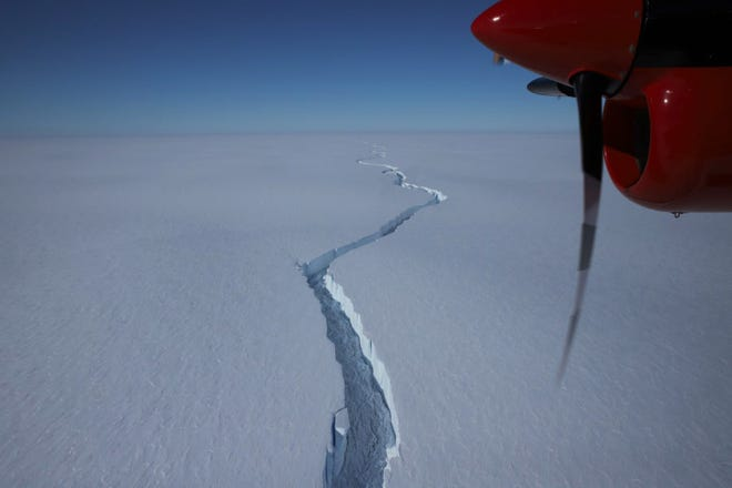 The iceberg started to crack off of Antarctica's Brunt Ice Shelf in January 2021.