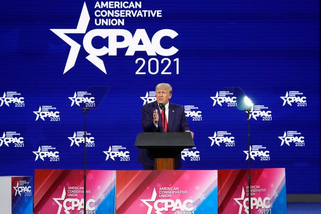 Former President Donald Trump at the Conservative Political Action Conference (CPAC) on Feb. 28, 2021, in Orlando, Florida.