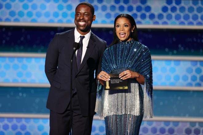 Susan Kelechi Watson presented with her onscreen husband, Sterling K. Brown, who looked sharp in a well-tailored suit and skinny tie.