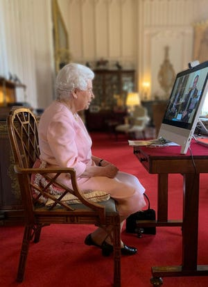 Queen Elizabeth II spoke to officials in South Australia on Feb. 24, 2021, via video conference call, to talk about vaccine distribution and a new statue of her unveiled in the grounds of Government House in Adelaide.