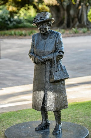 A new statue of Queen Elizabeth II was unveiled by Her Majesty virtually on Feb. 24, 2021, during a video conference with officials in South Australia.