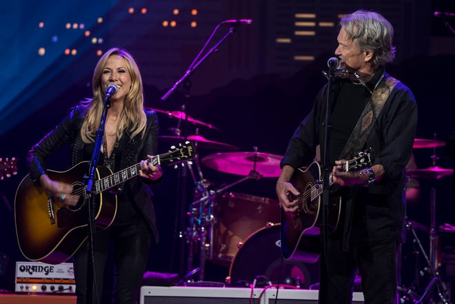 """Sheryl Crow and Kris Kristofferson perform during a taping of """"Austin City Limits"""" as the show celebrated its 40th anniversary in 2014. A duet between the singers will appear on a new collection of the show's great performances."""