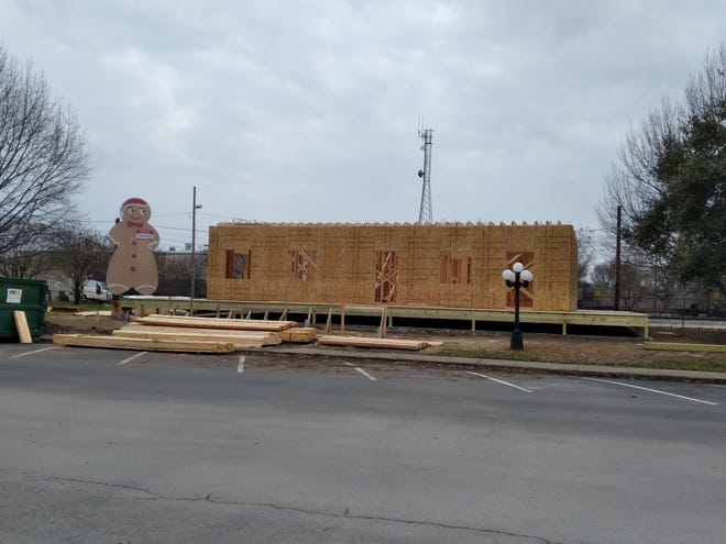 A building to house the Smithville Chamber of Commerce, visitor center and Railroad Museum is under construction at Railroad Park.