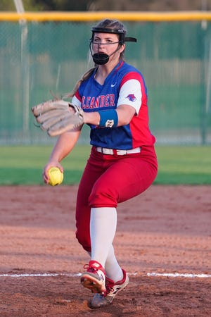 Leander pitcher Lauren Tetreault delivers to the plate against Round Rock during a 2020 game. The senior pitcher hopes to lead the No. 1 Lions to a deep postseason run in 2021.