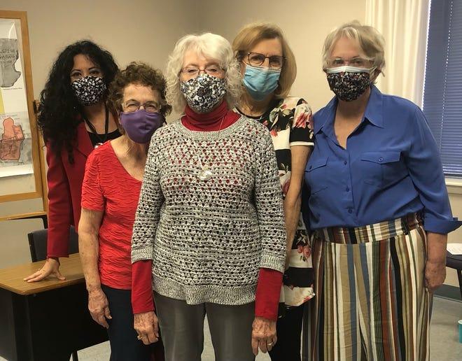 Photo: L/R: front-row: Linda Keim-Guest Speaker, second row: Waldyne Nesloney-member, Clare Wonder-Vice President and Ruth Brillhart-member, last row: Dee Dee Cantu Arismendez-Treasurer.