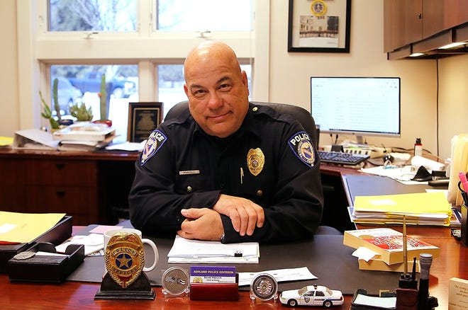 Ashland Police Division Chief of Police David Marcelli sits at the desk in his office in the Ashland Justice Complex on Tuesday, March 2, 2021. Marcelli is retiring on April 30th. TOM E. PUSKAR/TIMES-GAZETTE.COM