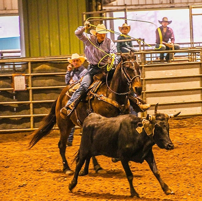 Hicks' Kase Busby took home all-around cowboy honors at the annual Calcasieu Parish Rodeo at Burton Complex, taking home third place in tie down roping and team roping.