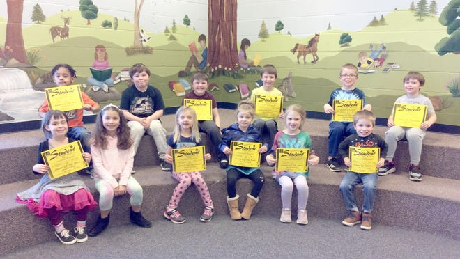 Hannah Cole Primary February First Grade Students of the Month. Front Row:  Amelia McKay, Arianna Douglas (absent from December/ absent again Jan.), Sylvia Weaver, Jaylyn Mitchell, Jenneka England, Miles Phelps. Back Row:  Avery Lewis, Cade Brimer (absent from Jan.), Mark Russell, Konley Shelton, Carter Jonkers, Bryce Sams.
