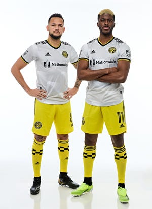 "The Columbus Crew's new ""community kit"" for the 2021 and '22 MLS seasons."