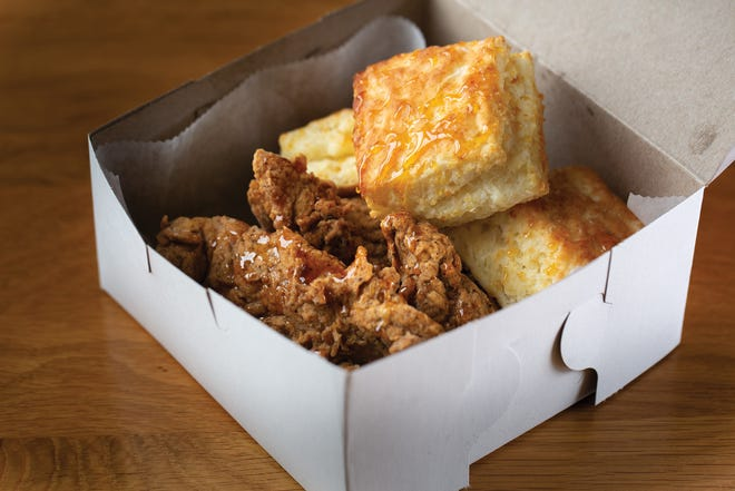Honey's fried chicken and biscuits