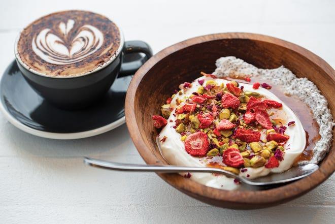 Chia rose parfait and the Aussie Cap from Emmett's Café