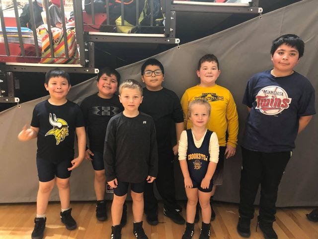 Crookston youth wrestlers at a tournament in Carrington, N.D. this weekend. Front row, from left to right: Ryken Dufault, Rylie Dufault. Back row: Angel Romo, Ali Romo, Javier Romo, Oliver Wallace, Leo Romo.