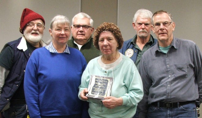 Beverly Bunn was recentlypresented with the Cambridge Amateur Radio Association 2020 Ham of the Year award. She is shown with, from left,Trustee Steven Bunn, Trustee Evelyn Barton, President Jim Shaw, Vice President Larry Dukes, and Trustee Dick Wayt.