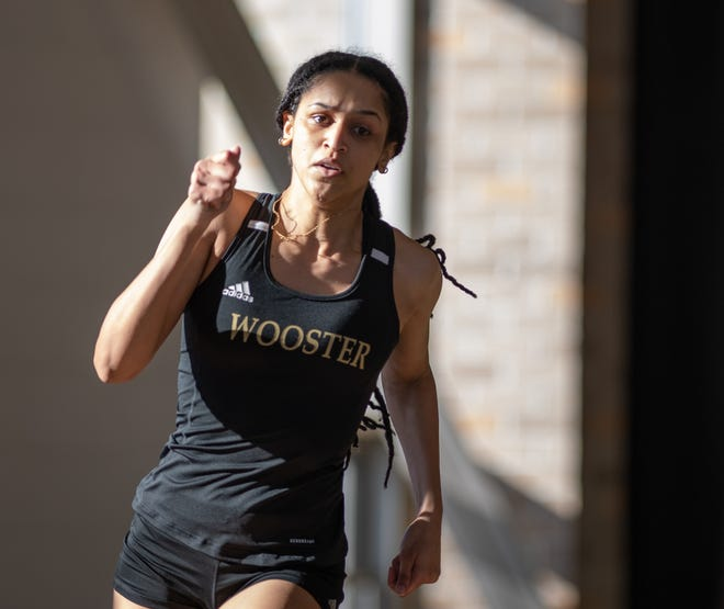 Maya Vasta won the 400-meter dash during Wooster's meet with Wittenberg.