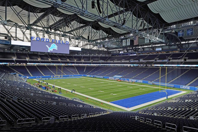 Ford Field, home to the Detroit Lions, is seen before drills at an NFL football practice, Wednesday, Sept. 2, 2020, in Detroit.