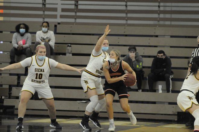 Siena Heights' Peyton Banks defends during a game against Indiana Tech earlier in the 2021 season.