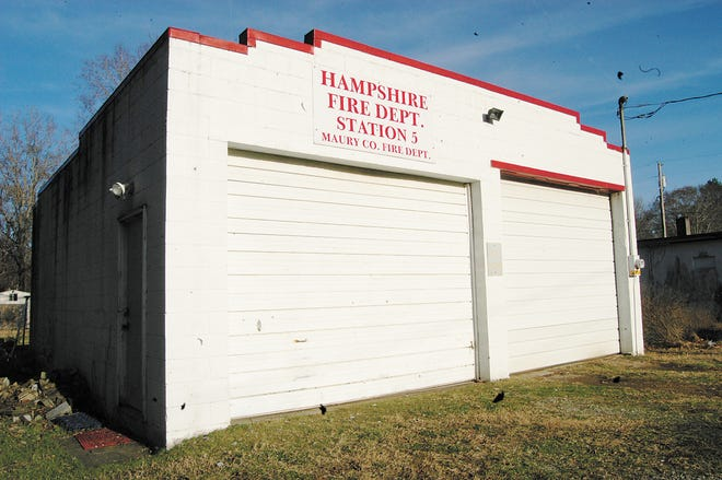 Maury County Fire Station No. 5 is located in downtown Hampshire, Tenn. The fire hall is set to be replaced by a larger structure at a new location.