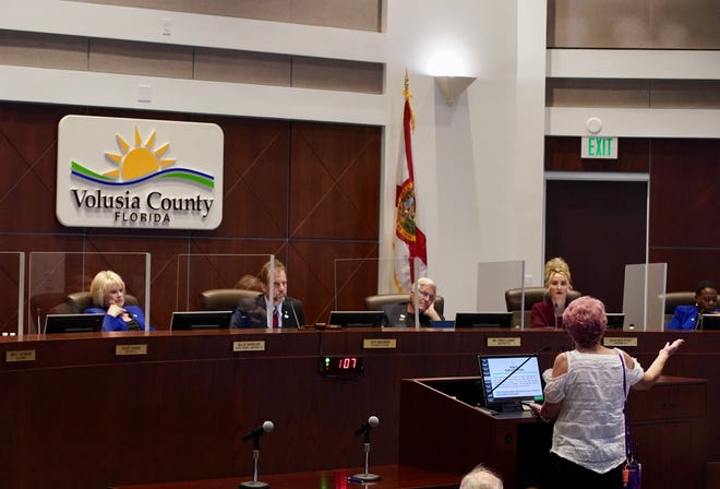 Speakers address the Volusia County Commission on March 2, 2021.