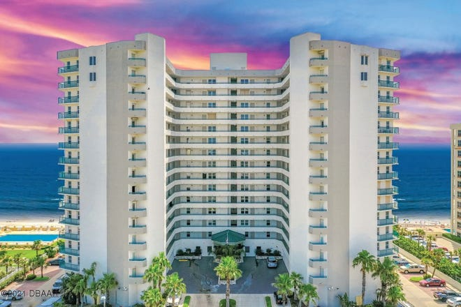 This magnificent oceanfront, southeast-facing condominium is located on the 14th floor of Towers Grande in Daytona Beach Shores.