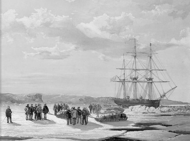 A sledge party leaves the stranded H.M.S. Investigator, stranded in Mercy Bay in April 1853.