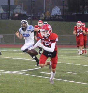 Hornell's Jackson White takes the ball to the endzone during the final game of 2019 for the HHS Red Raider football team.
