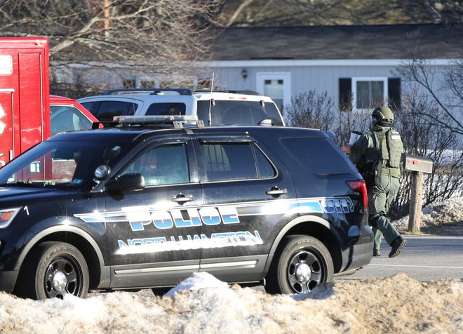 Police respond to a neighborhood in Barrington Tuesday, March 2, 2021.